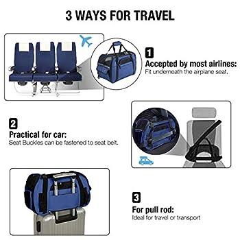Kaka mall Sac Transport Chat porté Main ou Épaule pour Chiot Chaton Panier Transport Chat pour Voyage en Train Voiture Avion Homologué(M, Marine)