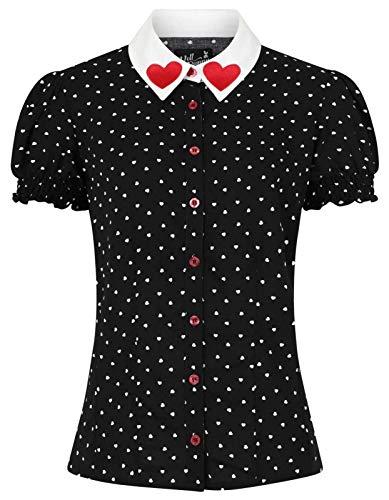 Hell bunny Allie Blus kvinnor blus svart/vit Basics, Casual wear, Fashion & Style, Rockwear
