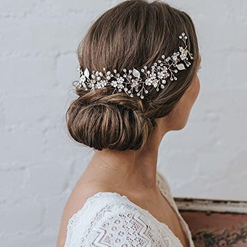Runmi Pelo de perlas para novia, color plateado, accesorios para el cabello...