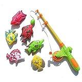 Ogquaton Juego de 7 cañas de pescar magnéticas divertidas para niños, juguete de baño, regalo interactivo, elegante y popular