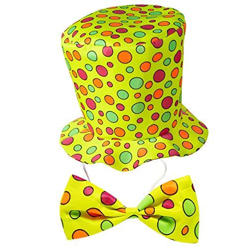 WIDMANN 91442 – Sombrero de payaso con pajarita, juego de 2 piezas, talla única para adultos, circo, cumpleaños, disfraz, accesorio para fiesta temática, carnaval