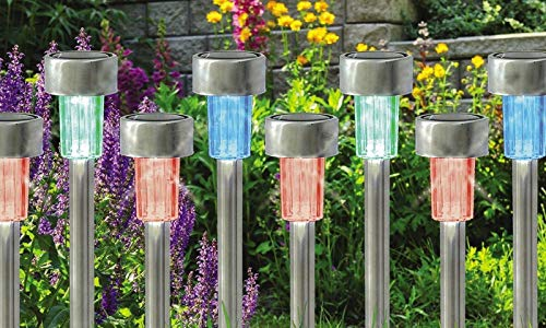 10 Pack x Coloured Solar Garden - Multi Colour Changing - Stake Lights, Stainless Steel Post Waterproof LED Outdoor Landscape/Lawn/Patio/Yard/Walkway/Driveway Lighting Colourful - 36cm Long