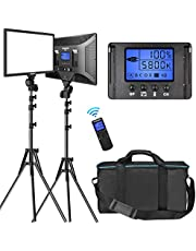 """LED Video Lighting Kit with Wireless Remote, Dazzne D50(2 Packs) Dimmable Bi-Color 15.4"""" LED Panel Light Stand, 45W 3000K-8000K CRI>96 Studio Light for Video Shooting Live Stream Photography YouTube"""
