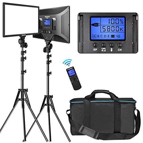 """LED Video Lighting Kit with Wireless Remote, Dazzne D50(2 Packs) Dimmable Bi-Color 15.4"""" LED Panel Light Stand, 45W 3000K-8000K CRI96 Studio Light for Video Shooting Live Stream Photography YouTube"""
