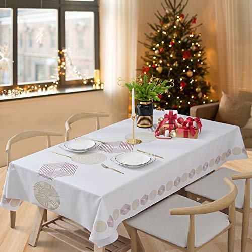 Essort Mantel Rectangular para Mesa PVC Hule Mantel Cuadrado para Comedor, Impermeable y Prueba de Aceite Hexágono 137 x 220 cm