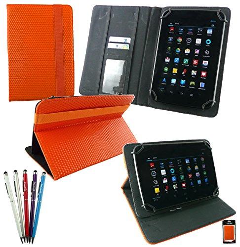 emartbuy Bündel von 5 2 in 1 Eingabestift +Universalbereich Orange 3D Cube Multi Winkel Folio Cover Wallet Hülle Schutzhülle mit Kartensteckplätze Geeignet Für Advent Vega Tegra Note 7 Zoll Tablet