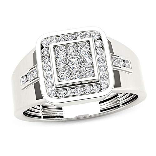 Bague chevalière à monture carrée avec diamants et diamants pour homme, en or blanc 14K