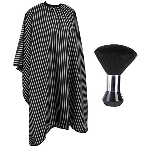 Barber Cape and Neck Duster Brush,Waterproof Polyester Salon Hair Cutting Cape, Haircut Cape with Adjustable Elastic Neckline
