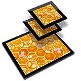 Destination 14335 - Mantel individual de vinilo (20 x 25 cm, 2 posavasos de 10 x 10 cm), diseño de abeja, color dorado