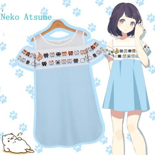 Sunkee Neko Atsume Chat Meow arrière-cour Jupe Robe Lolita Kawaii Filles Femme ( Vous pouvez choisir la taille correcte selon le tableau des tailles sur l'Amazone) (M, Neko Atsume Robe)
