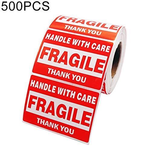 FENSHIX 500PCS Auto-adhésif Anglais Outer Box Autocollant d'avertissement Étiquette Fragile, Taille: 76x51mm Précieux
