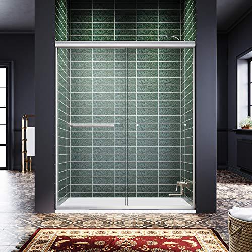 ELEGANT Showers 58.5-60' W x 72' H, Semi-Frameless Bypass Sliding Shower Doors, 1/4' Clear Glass, Brushed Nickel Finish