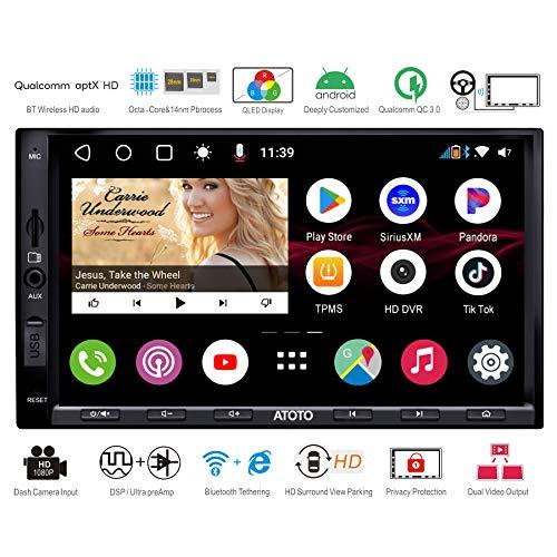ATOTO S8 Pro S8G2A75P,Armaturenbrett eingebauten Video, Android-Autoradio GPS,Dual BT mit aptX HD, Telefonintegrationsverbindung, QLED-Display, VSV-Parken, Unterstützung von 512GB SD, QC3.0-Aufladung