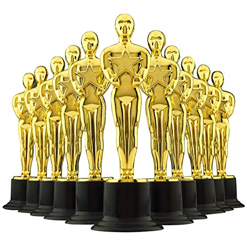 6' Gold Award Trophies - Pack of 12 Bulk Golden Statues Party Award Trophy, Party Decorations and Appreciation Gifts by Bedwina