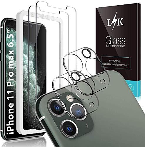 LϟK 4 Pack Protector de Pantalla Compatible con iPhone 11 Pro MAX 6.5 Pulgada con 2 Pack Cristal Templado y 2 Pack Protector de Lente de Cámara - Doble Protección Sin Burbujas Kit Fácil instalación
