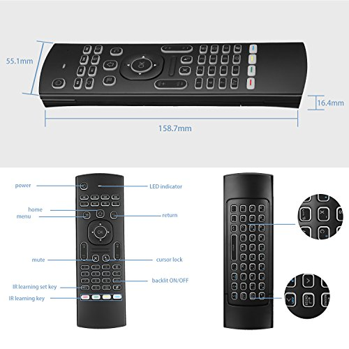 MX3 Pro Mini Keyboard Backlight Air Remote Mouse,Android TV Remote Control,IR Learning Mini Wireless Keyboard for Android TV Box.HTPC.IPTV.Pad.PS3/PS4 …