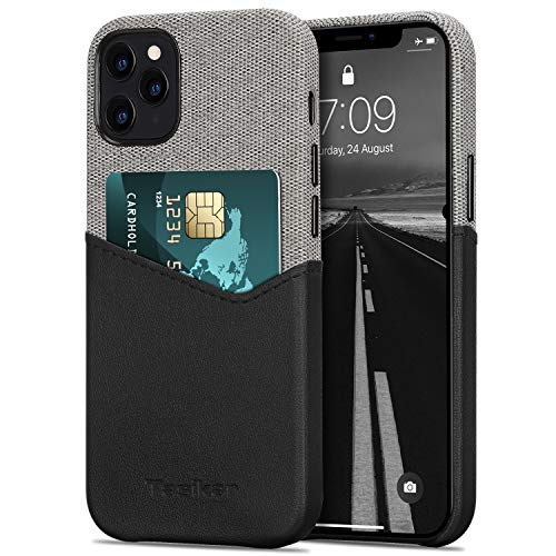 Tasikar Funda iPhone 12 / Funda iPhone 12 Pro Carcasa Cartera de Cuero y Tela con Tarjetero Compatible con iPhone 12 & iPhone 12 Pro (Negro)