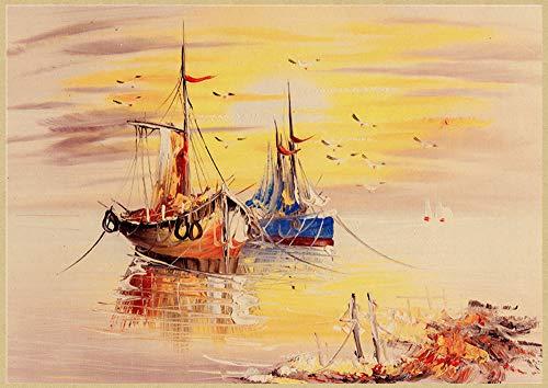 H/L Paisaje De Jardín Mediterráneo Abstracto Cartel Retro Pintura Al Óleo Decoración del Hogar Mural Sin Marco 50X60 Cm K10559