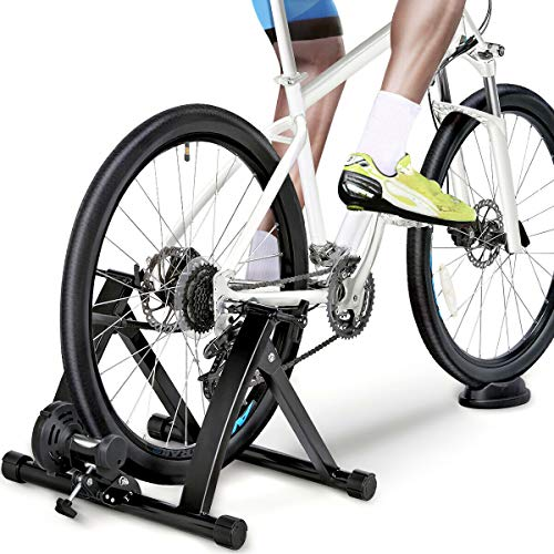 Wireless Bike Trainer Stand ,Magnetic Bicycle Stationary Stand For Indoor Exercise,Portable Bicycle Exercise Training Stand,Adjustable Resistance,Supports 330 lbs,Antislip Feet,for 24'–28'or 700c whee
