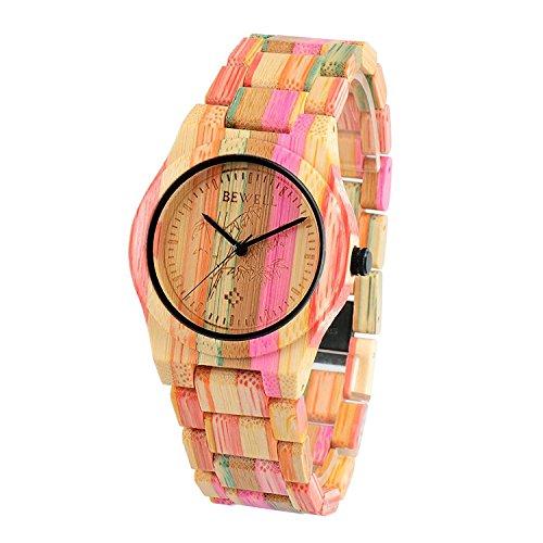 BEWELL Reloj Unisex de Madera,Hecho a Mano Natural de Bambú,Analógico Cuarzo de Hombre y Mujer con Correa de Multicolor de Bambú,Robusto y Elegante,Ligero,W105DG