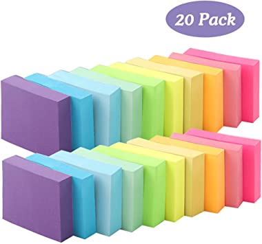 Cocoboo 20 Pads Mini Sticky Notes, 10 Colors, 1.5 x 2 Inches Small Self-Stick Notes, 100 Sheets per Pad, Post Notes for School and Office
