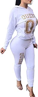 Aro Lora Women's 2 Pieces Outfit Letter Print Long Sleeve Hoodies + Long Bodycon Pant Sweatsuits Tracksuits Jumpsuits