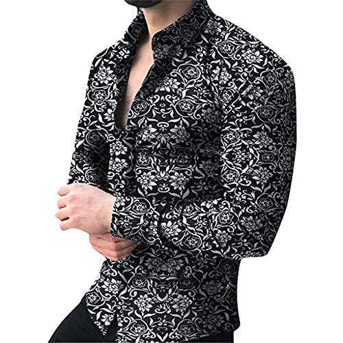 SLATIOM Camisa de manga larga para hombre, blusa floral para hombre, camisas casuales, camisas de verano y...