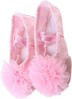 HEALLILY Ballet Dancing Shoes With Gauze Flower Leather Soles Dance Shoes For Kids Size 34 Pink