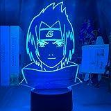(Solo 1) 3D Naruto Kakashi Uzumaki Naruto Uchiha Sasuke decoración de dormitorio infantil LED colorido USP luz nocturna Sasuke Uchiha