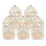 Kentop, gabbia per uccelli in metallo, 8x 14cm, porta candela, matrimonio, casa, tavolo, decorazione, in colore bianco, 5pcs, 8*8*14CM