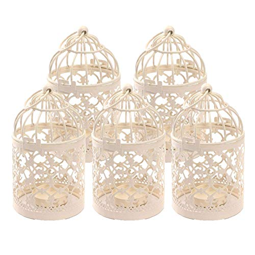 Kentop Lot de 5 Cage à Oiseaux en métal Photophore Lanterne Maison de Mariage Décoration de Table Blanc