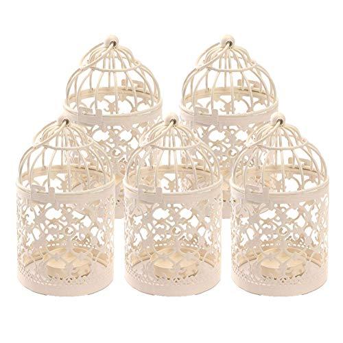 Kentop 5 portavelas de metal con diseño de pájaro hueco, para decoración de mesa o bodas
