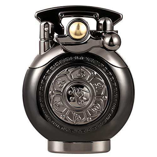 Kerosene Lighter Vintage Antique Soft Flame Lighter for Collection-Decorative-Gift-Present (Black)
