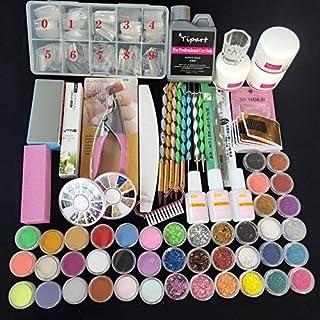 YZT Professional 42 Acrylic Liquid Powder Glitter Clipper Primer File Nail Art Tips Tool Brush Tools Set Kit New (Color : Set NO.1 Clear Tips)