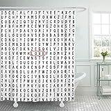 N / A Wasserdichter Stoff Duschvorhang Haken Rot ABC Liebe Finden Sie das Wort in Puzzle Spiel Buchstaben Zuneigung Alphabet Badezimmer Geruchlos Umweltfre&lich Antibakteriell