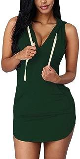 Cfanny Women's Hoodies Sexy Dresses Casual Summer Sleeveless Mini T-Shirt Dress