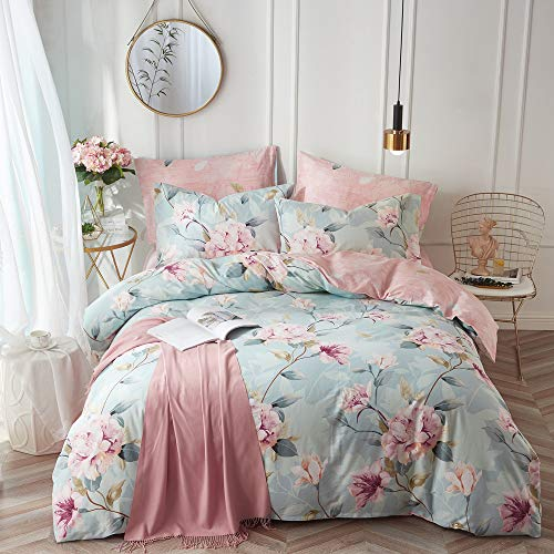 VClife Cotton Bedding Duvet Cover Sets Full Botanical Flower Branch Pattern Queen Comforter Quilt Cover Sets 1 Duvet Cover 2 Pillowcases Hypoallergenic Lightweight Hotel Luxury Soft