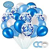Ballon Bleu, Ballons Anniversaire, Ballon Confettis 40 Pièces Ballons pour Mariage, Anniversaire, Baby Shower, Diplôme,Cérémonie Décorations de Fête (Bleu)
