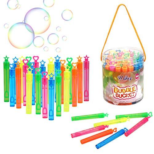 Ulikey Seifenblasen Kinder, 40 Stück Seifenblasen Stäbe Spielzeug, Bubble Geschenke Hochzeit Party Seifenblasen Set für Garten Mitgebsel Kindergeburtstag Karneval