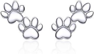 Lovely Puppy Paw Print Stud Earrings Sterling Silver for Women Girls Cute Animal Dog Pet Earring Ear Studs Piercing Hypoal...