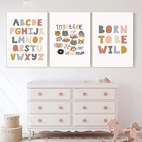 HXLZGFV ABC Alphabet Nursery Poster Born to be Wild Cita Arte de...