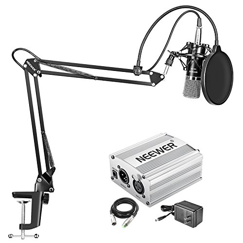 Neewer NW-700 Condenser Microphone Kit - Mic(Black) and 48V Phantom Power Supply(Silver),NW-35 Boom Scissor Arm Stand with Shock Mount and Pop Filter,XLR Male to Female Cable for Home Studio Recording