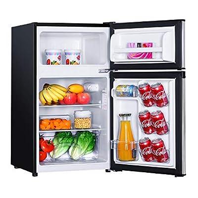 TACKLIFE Compact Refrigerator 3.1 Cu.Ft, 2 Door Mini Fridge with Freezer, Low Noise, Energy Saving, LED Inside, 2 Door Upright Fridge for Dorm, Apartment, Office, Silver - HPVFR310