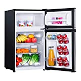 Mini Fridge with Freezer, 3.1 Cu.Ft Small Refrigerator, Compact Refrigerator with LED Light, 2 doors, Mini Fridge for Bedroom, Office, Dorm, RV, Garage, Stainless Steel Sliver -HPVFR310
