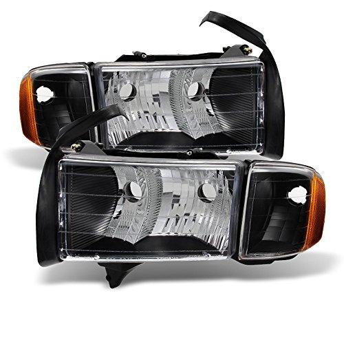 ACANII - For Black 1999 2000 2001 Dodge Ram 1500 Sport Model Headlights Headlamps w/Corner Driver + Passenger Side