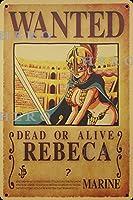 海賊アニメREBECAレベカ さびた錫のサインヴィンテージアルミニウムプラークアートポスター装飾面白い鉄の絵の個性安全標識警告バースクールカフェガレージの寝室に適しています
