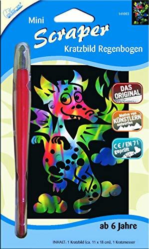 Mammut Spiel & Geschenk 141003 Kratzbild Motiv Drache, regenbogenfarbend, Mini, Komplettset mit Kratzmesser und Übungsblatt, Scraper, Scratch, Kritzel, Kratzset für Kinder ab 6 Jahre, Regenbogen