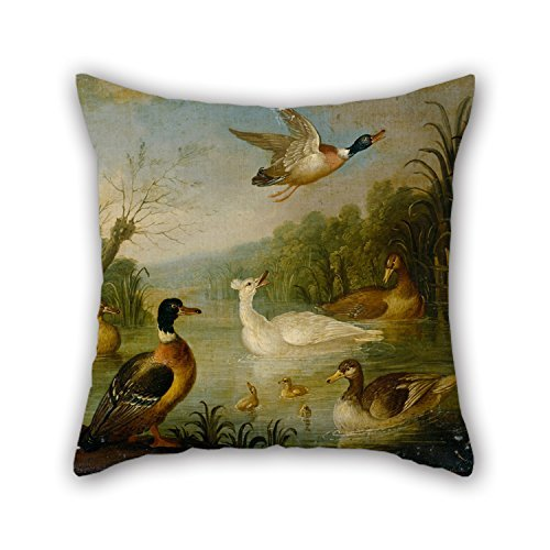 Slimmingpiggy Oil Painting Cradock, Marmaduke - Mallards On A Pond Christmas Pillow Covers Best For Girls Bar Bedroom Son Dining Room Living Room 16 X 16 Inches / 40 By 40 Cm(double Sides)