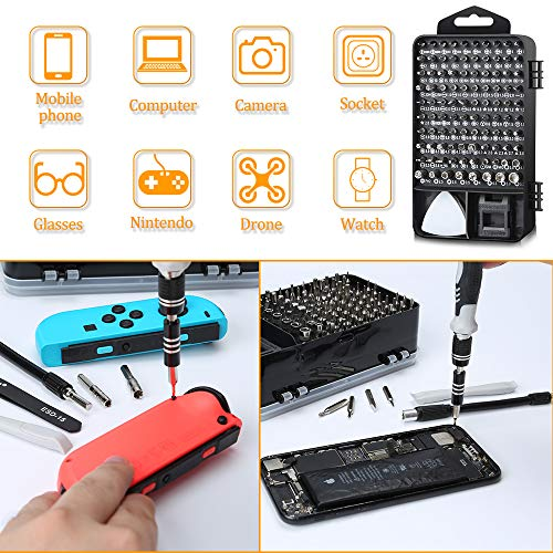 Precision Screwdriver Set, Lifegoo 117 in 1 Magnetic Repair Tool Kit for iPhone Series/Mac/iPad/Tablet/Laptop/Xbox Series/PS3/PS4/Nintendo Switch/Eyeglasses/Watch/Cellphone/PC/Camera/Electronic