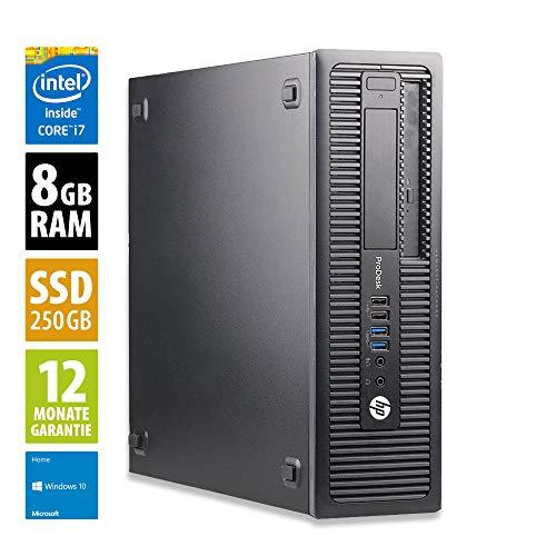 HP ProDesk 600 G1 SFF - Core i7-4770 @ 3,4 GHz - 8GB RAM - 250GB SSD - DVD-RW - Win10Home (Zertifiziert und Generalüberholt)